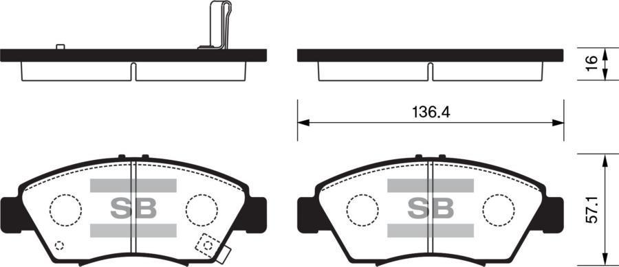 Колодки торм. перед. Honda Civic 95->/CR-X/Fit/Jazz/Integra