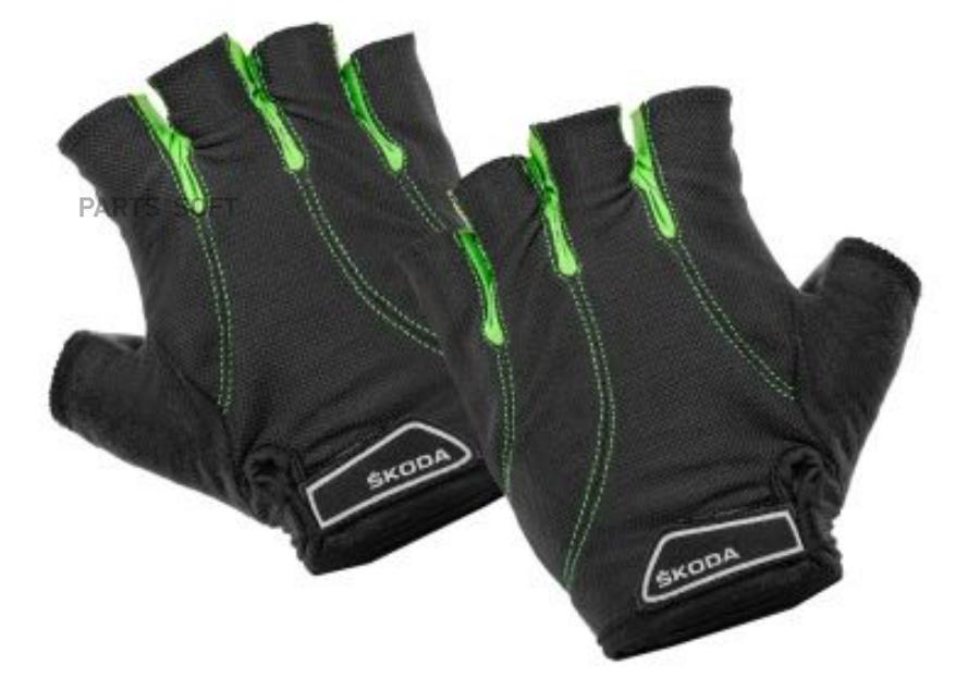 Велоперчатки Skoda Cycling Gloves Black/Green