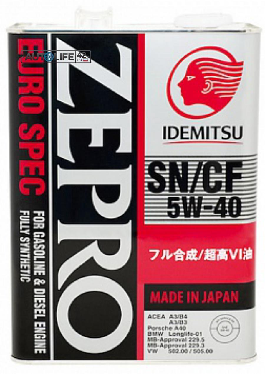 IDEMITSU ZEPRO EURO SPEC F-S SN/ CF  5W40  Масло моторное синтетическое  4л IDEMITSU 1849004
