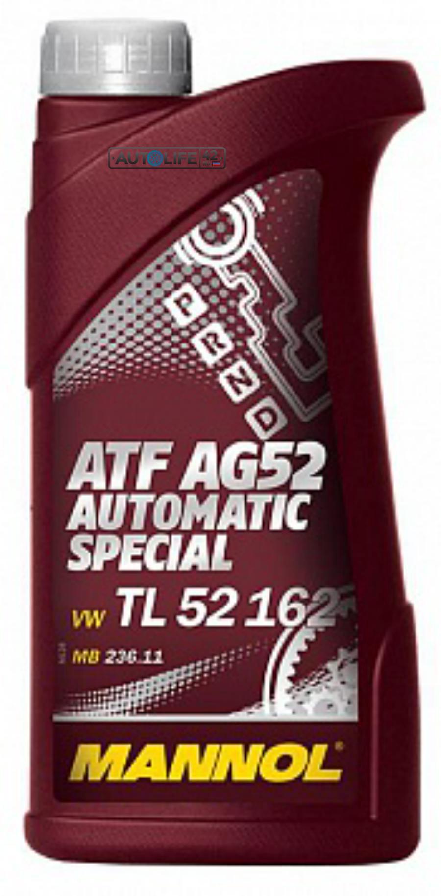 Масло трансмиссионное полусинтетическое Automatc Special ATF AG52, 1л