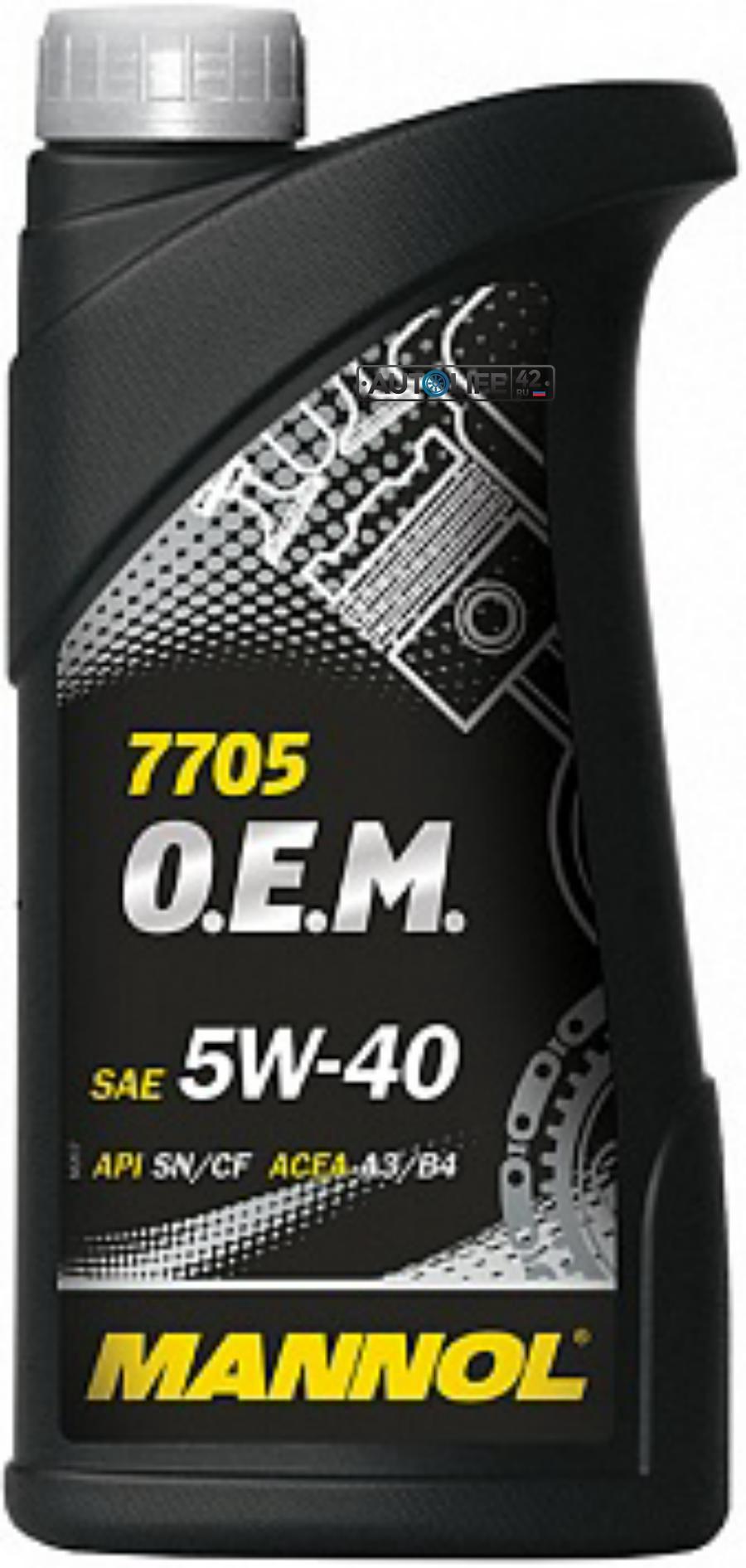 Масло моторное синтетическое 7705 O,E,M, for Renault Nissan 5W-40, 1л