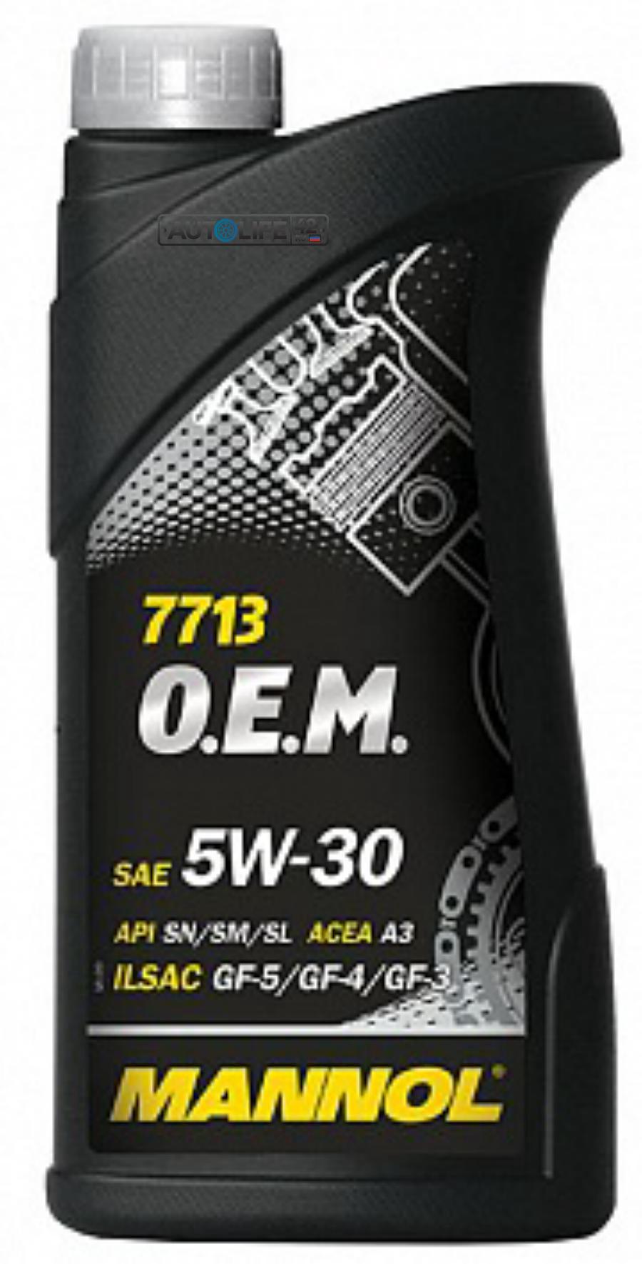 Масло моторное синтетическое 7713 O,E,M, for Hyundai Kia 5W-30, 1л