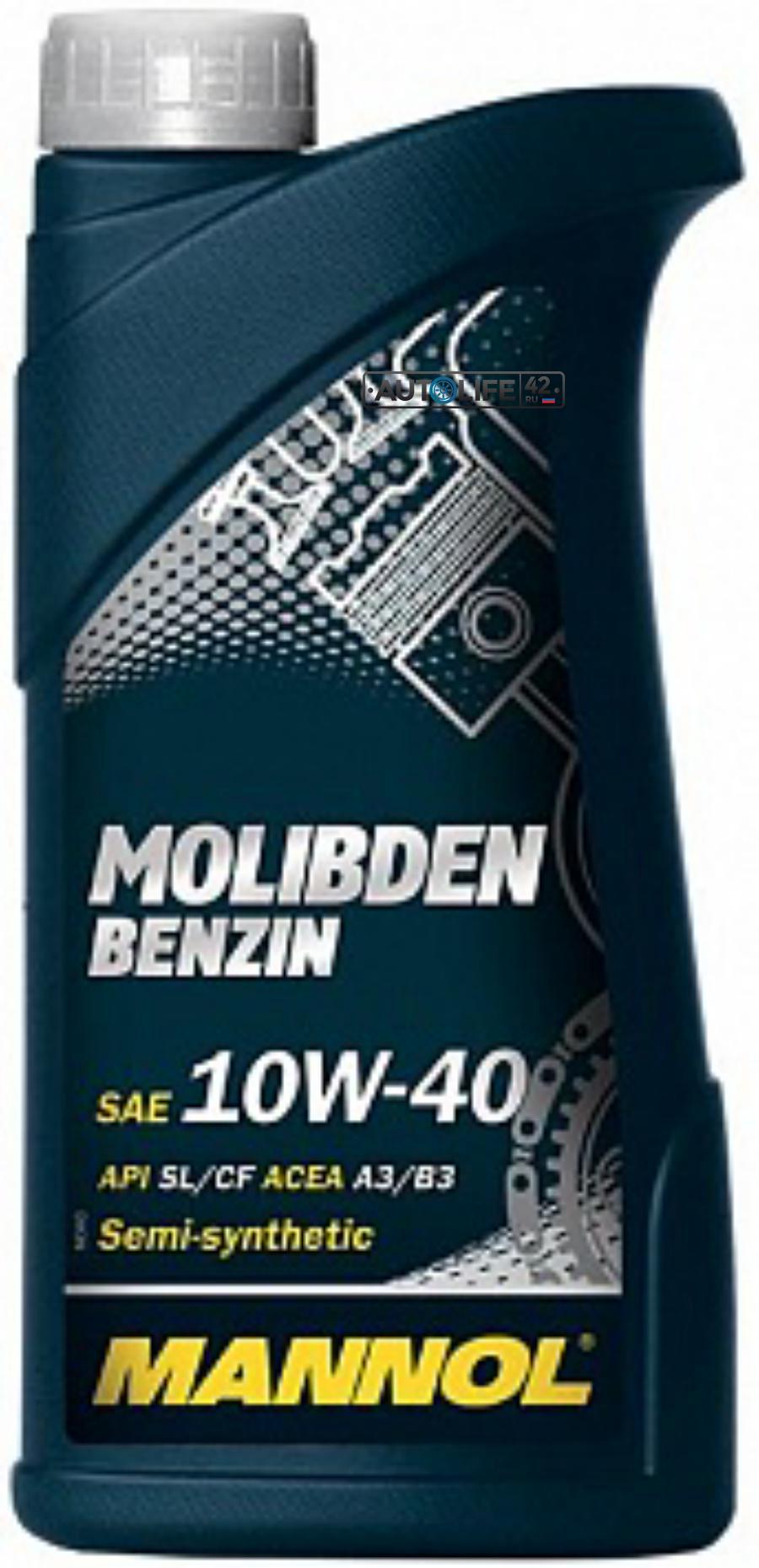 Масло моторное полусинтетическое MOLIBDEN BENZIN 10W-40, 1л