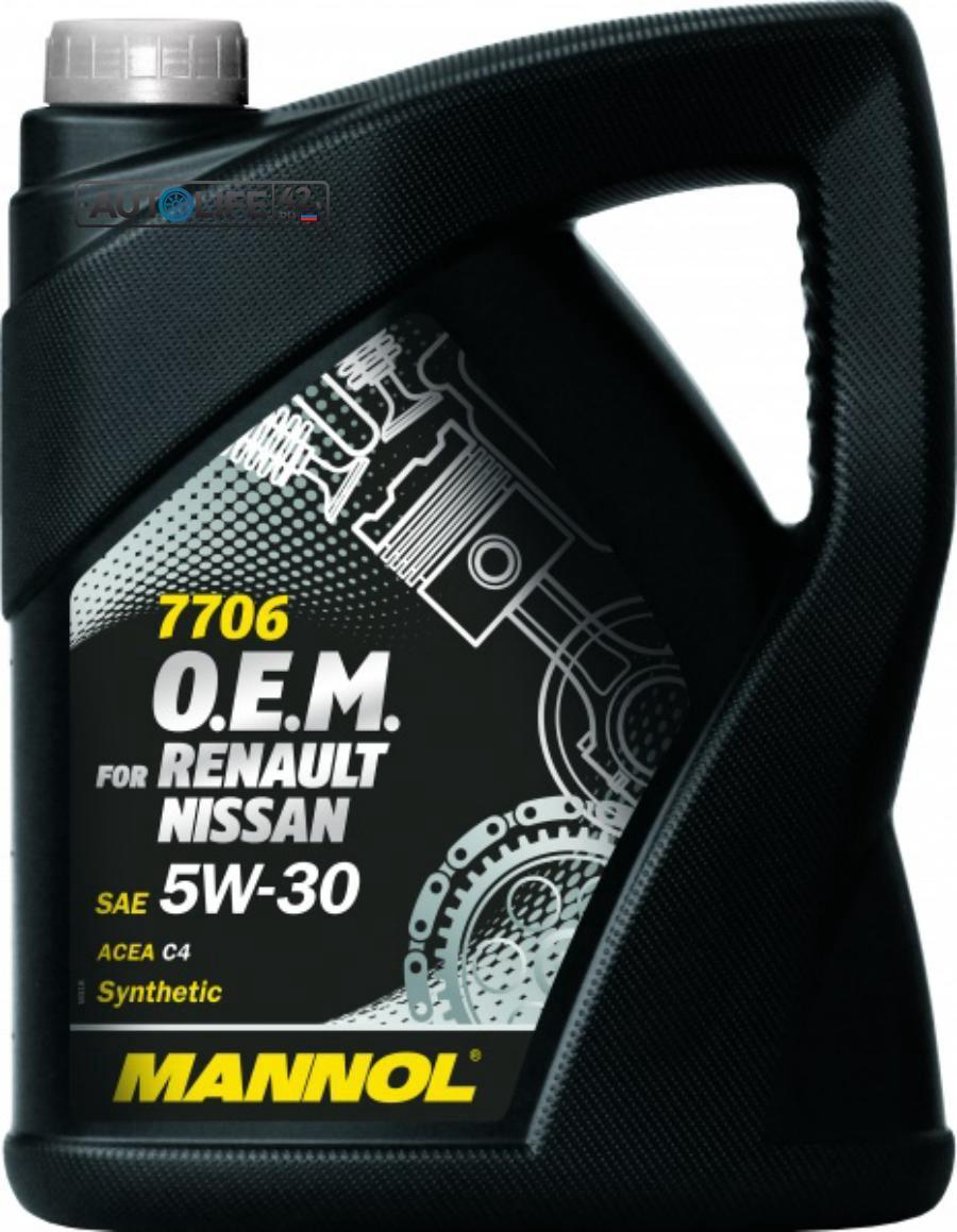 Масло моторное синтетическое 7706 O,E,M, for Renault Nissan 5W-30, 5л