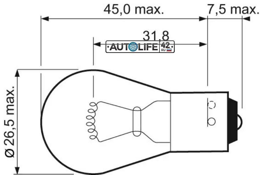 Лампа PY21W Essential 12V 21W BAU15S (min 10) VALEO 032203