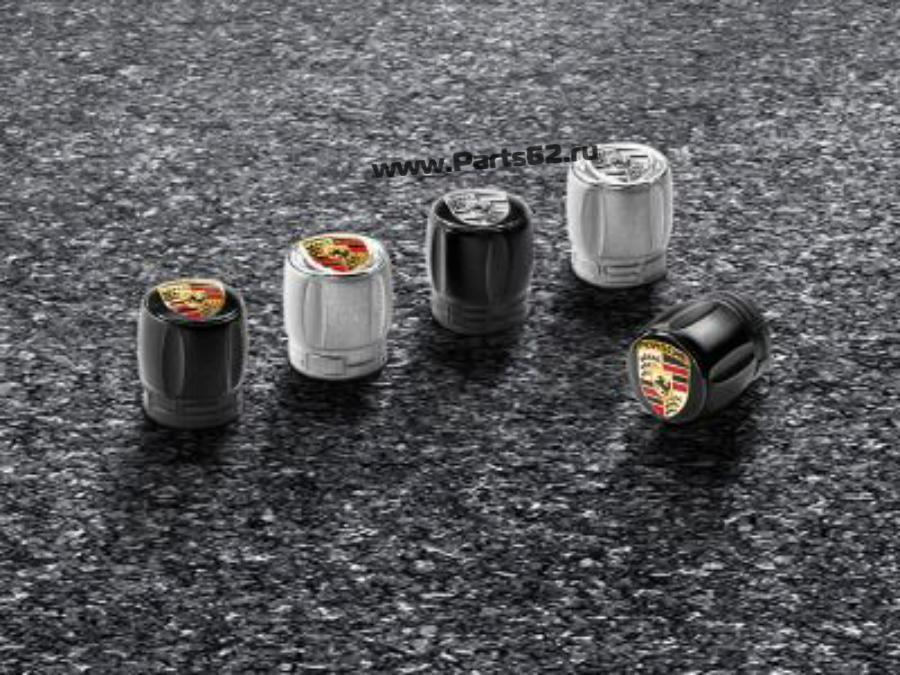 Набор из четырех колпачков для колесных ниппелей Porsche серебристый корпус / черно-белый герб