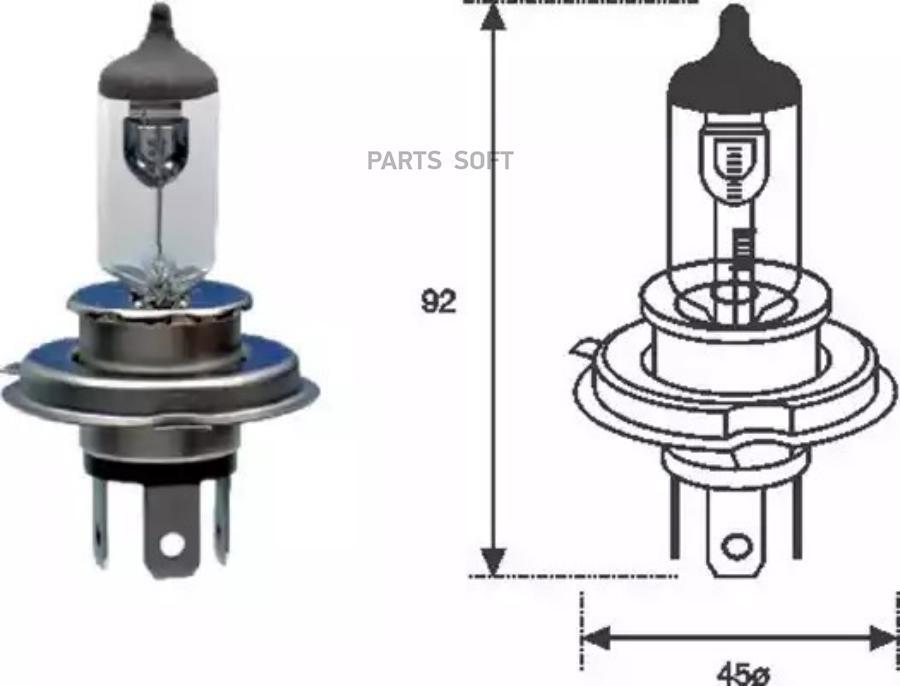Лампа накаливания, фара дальнего света; Лампа накаливания, основная фара; Лампа накаливания