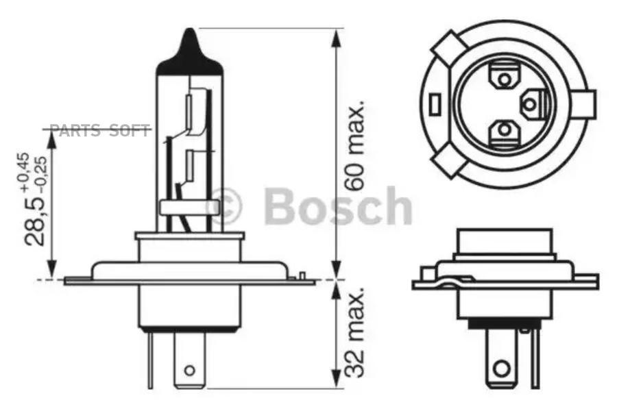 Лампа фары 12V H4 60\65W BOSCH (1987302041)