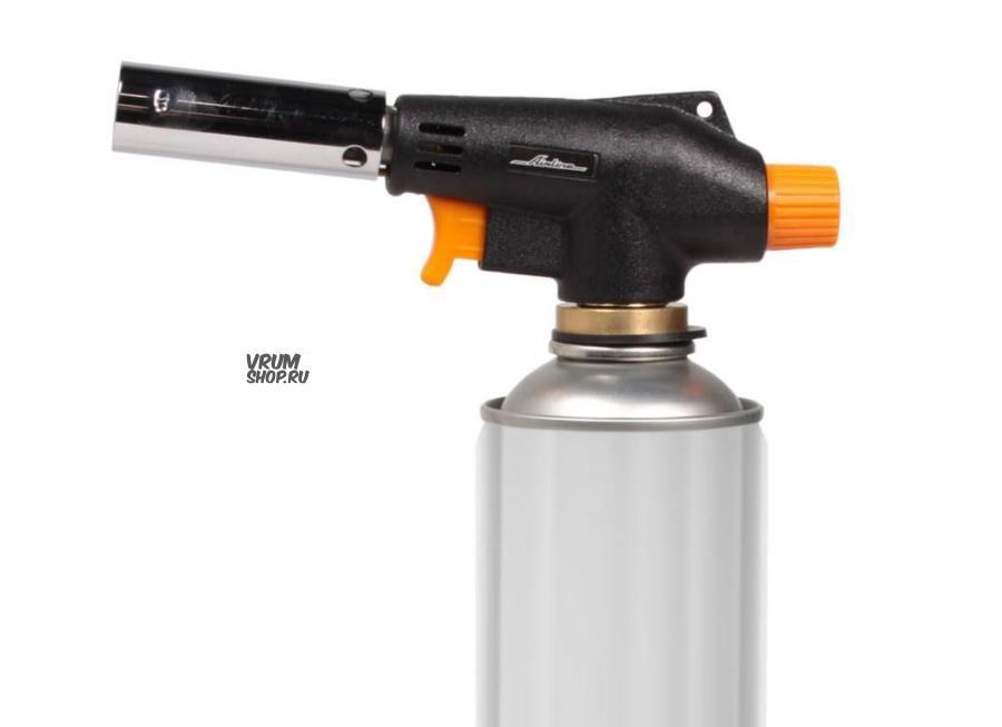 Горелка газовая на резьбовой баллон, пьезоподжиг, анти-вспышка, 16*5,5*3 см