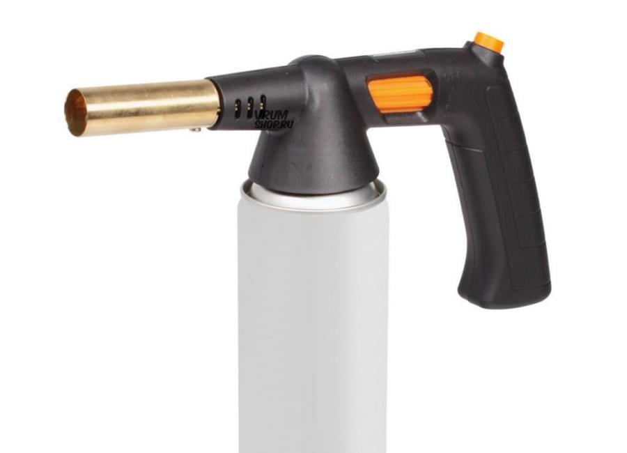 Горелка газовая с ручкой на резьбовой баллон, пьезоподжиг, анти-вспышка, 21,5*12,5*5,5 см