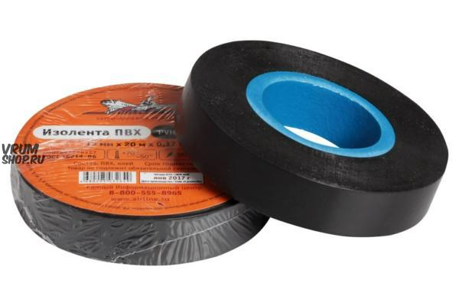 Изолента ПВХ, черная, 15 мм*20 м