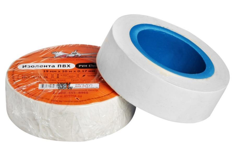 Изолента ПВХ, белая, 19 мм*10 м