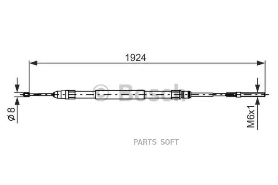 Трос ручного тормоза BMW E39 1934мм