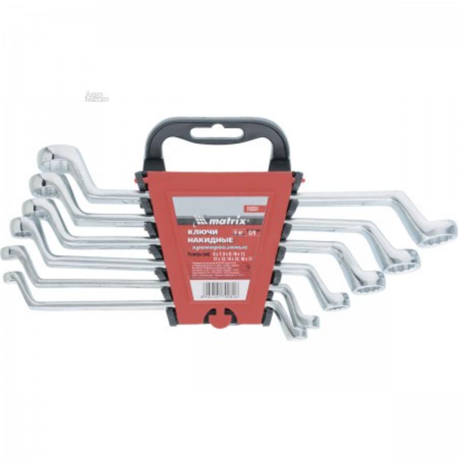 Набор ключей накидных, 6-17 мм, CR-V, 6 шт, полированный хром Matrix