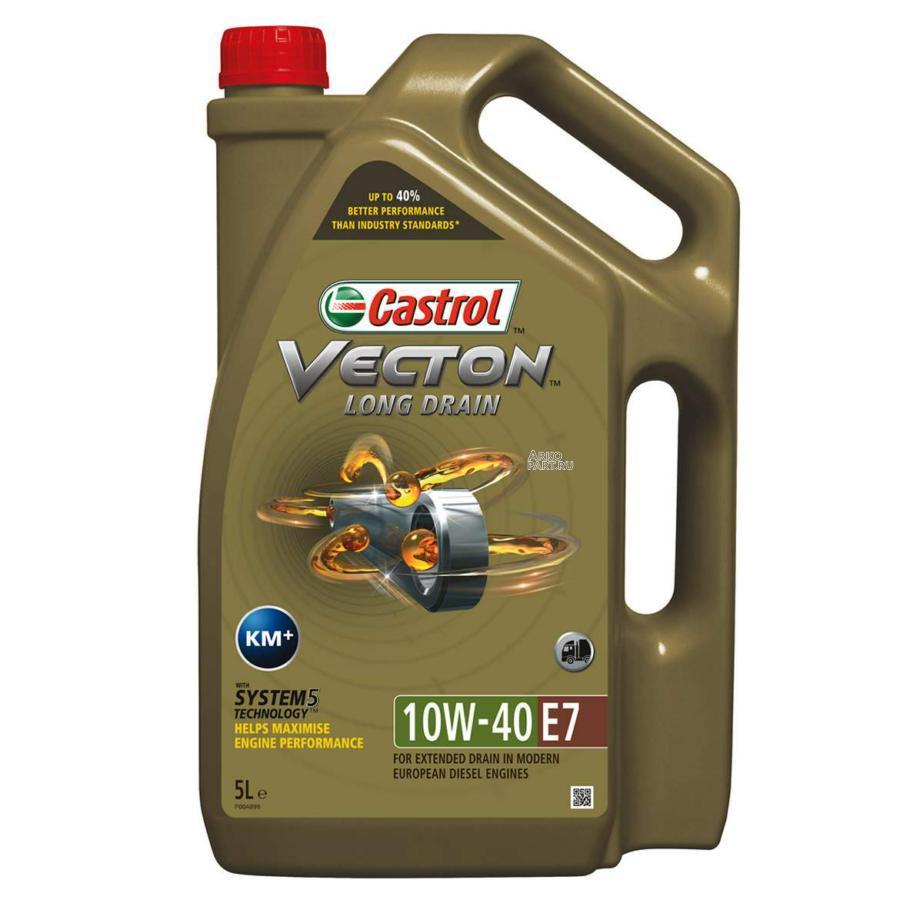 Моторное масло Castrol Vecton Long Drain 10W-40 E7 синтетическое, 5 л