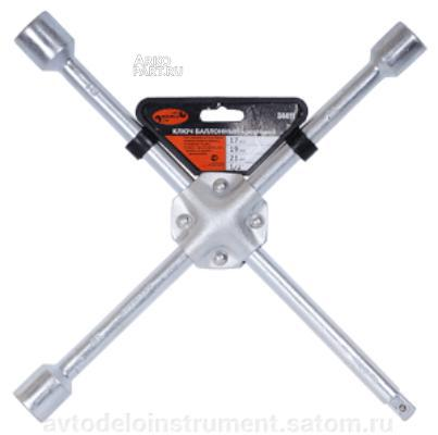 Ключ баллонный-крест (17*19*21*22)(усиленный) 400мм (АвтоDело) (34417)