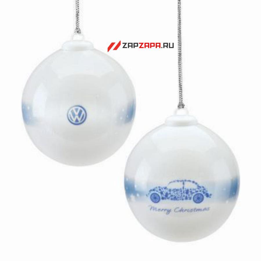 Фарфоровый елочный шар с изображением Volkswagen Beetle