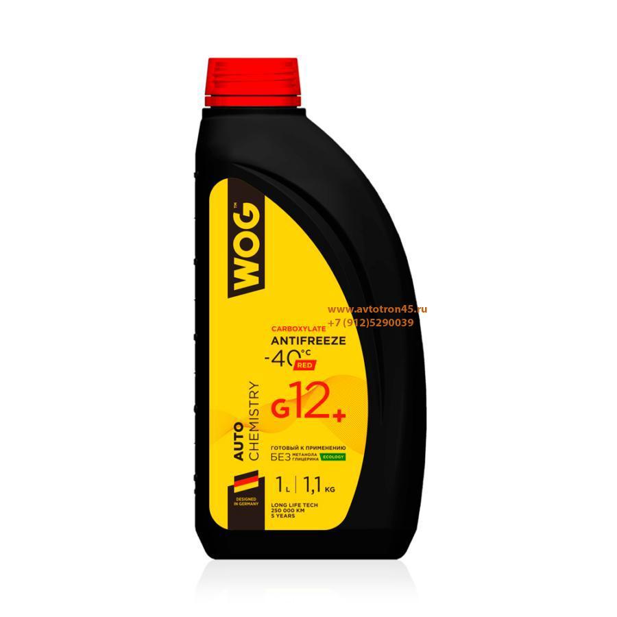 Охлаждающая жидкость Антифриз G12+ (-40C) карбоксилатный WOG, 1 л/1,1 кг