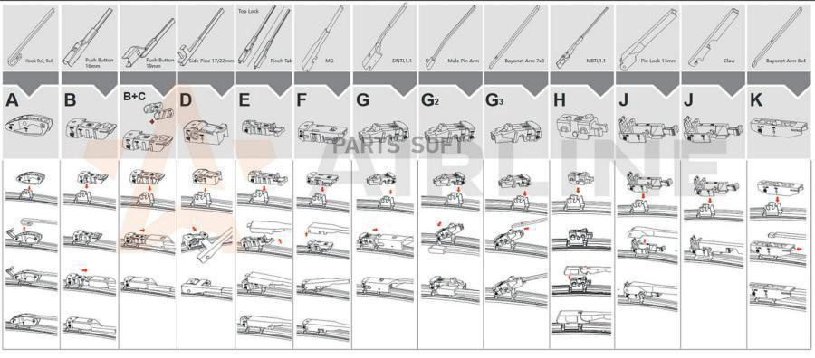Щетки стеклоочистителя 50см универсальная Garde всесезонная бескаркасная WBF500 6 адаптеров ВАЗ 2115
