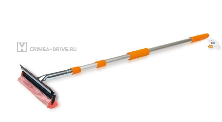 Щетка для мытья стекол с телескопической ручкой, поролоном и водосгоном (90-130 см)