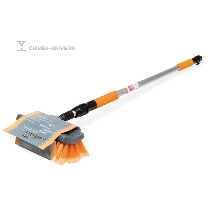 Швабра с насадкой для шланга, щеткой 25см и телескопической ручкой 120-200см