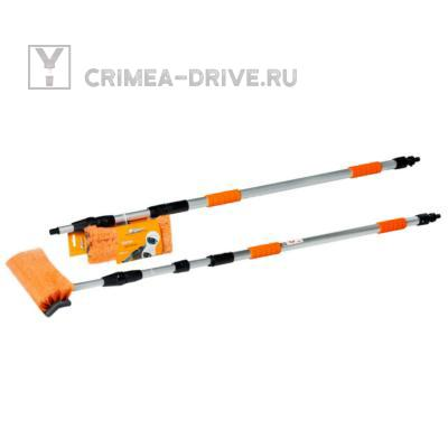 Швабра с насадкой для шланга, щеткой 25см и телескопической ручкой 160-300см