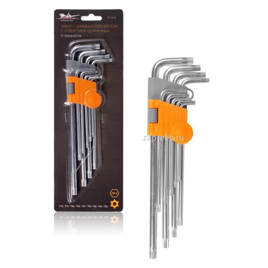 Набор Г-образных ключей TORX инбус с отв. удлинённых 9 предметов (Т10, Т15, Т20, Т25, Т27, Т30, Т40, Т45, Т50) пласт.подвес
