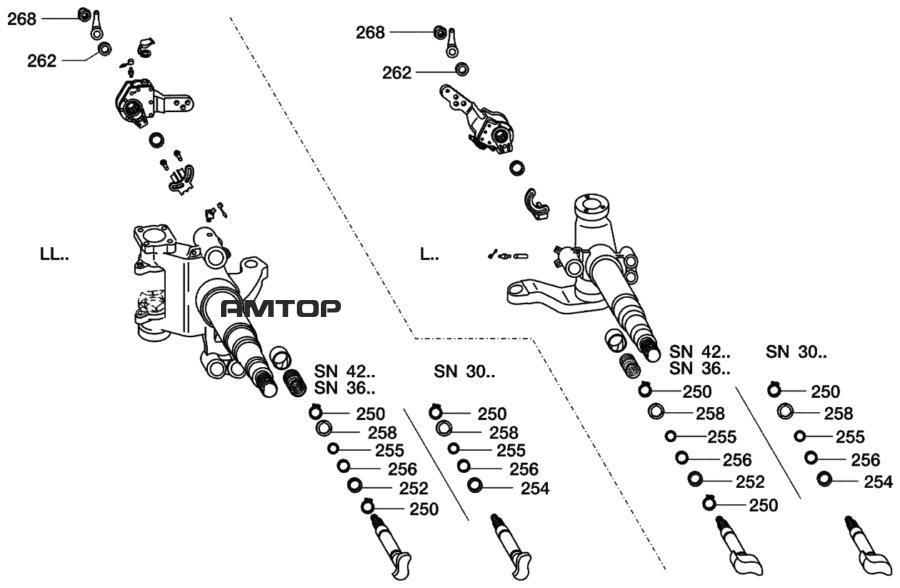 Комплект деталей для монтажаПоз. 250-258, 262, 268
