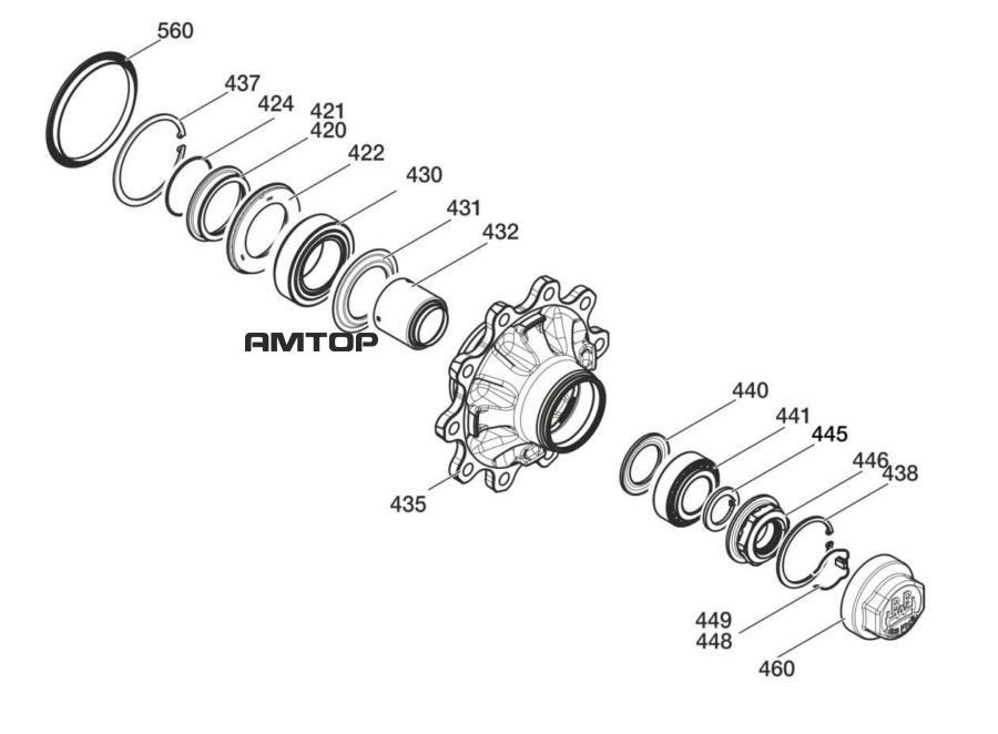 Ремонтный комплект система подшипников ступицы( ступица в сборе )Поз. 420 - 449, 460, 560 (ECO Seal)