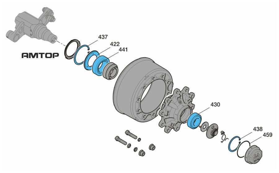 Ремонтный комплект,конический роликоподшипникбез осевого болта и колпакаПоз. 422, 430, 437, 438, 441, 459