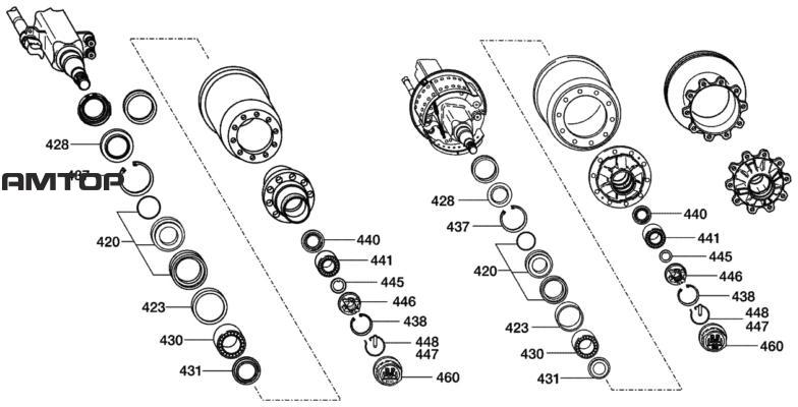 Ремонтный комплект,конический роликоподшипникс осевой гайкой и колпакомПоз. 420, 423, 428 - 431, 437, 438, 440, 441, 445 - 448, 460