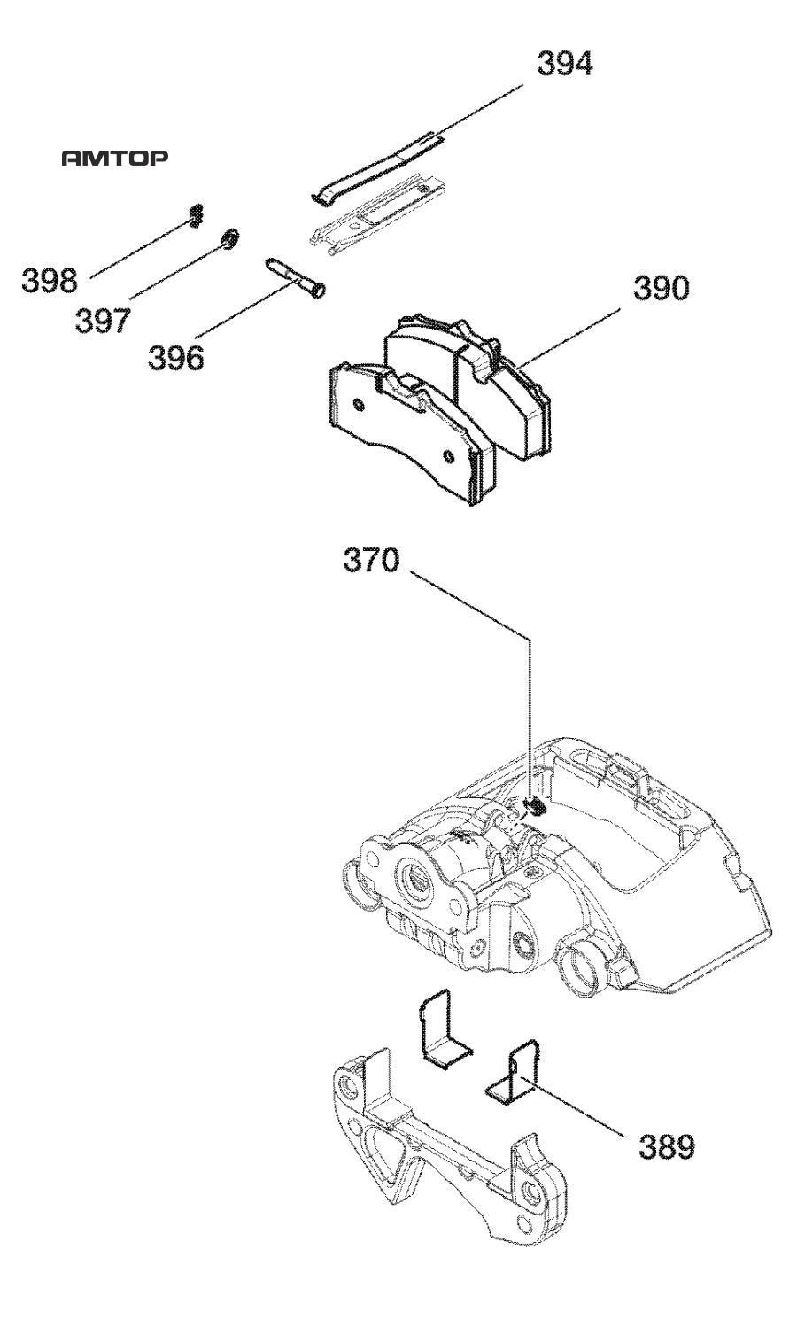 Ремонтный комплект тормозная накладкаTSB 3709 ( BPW 8200 )Вкл. поз. 370, 389, 394, 396 - 398