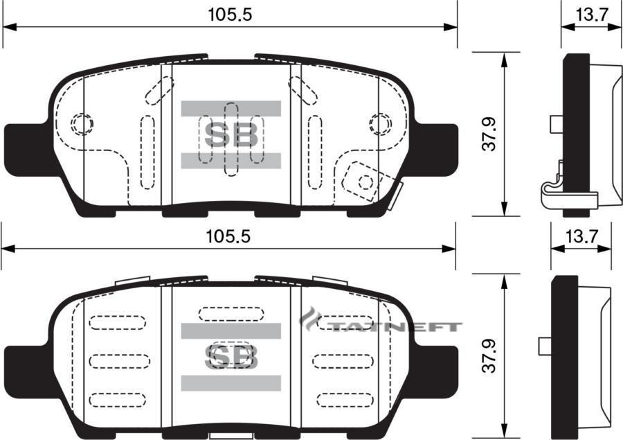 Колодки тормозные задние SP1250