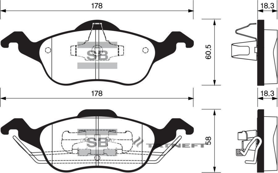Колодки тормозные передние SP1259
