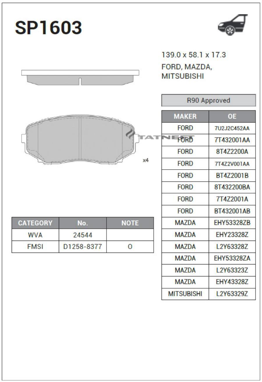 Колодки тормозные передние SP1603