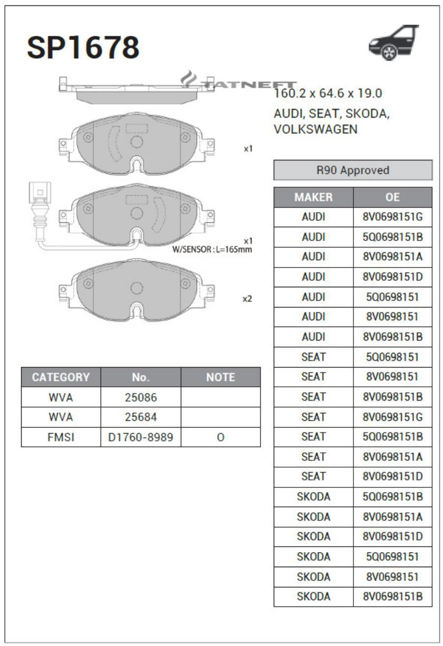 Колодки тормозные передние SP1678