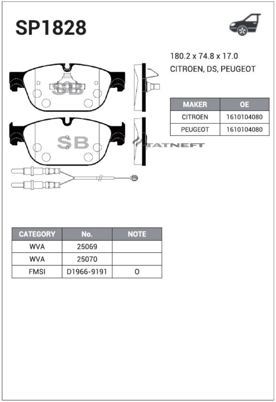 Колодки тормозные передние SP1828