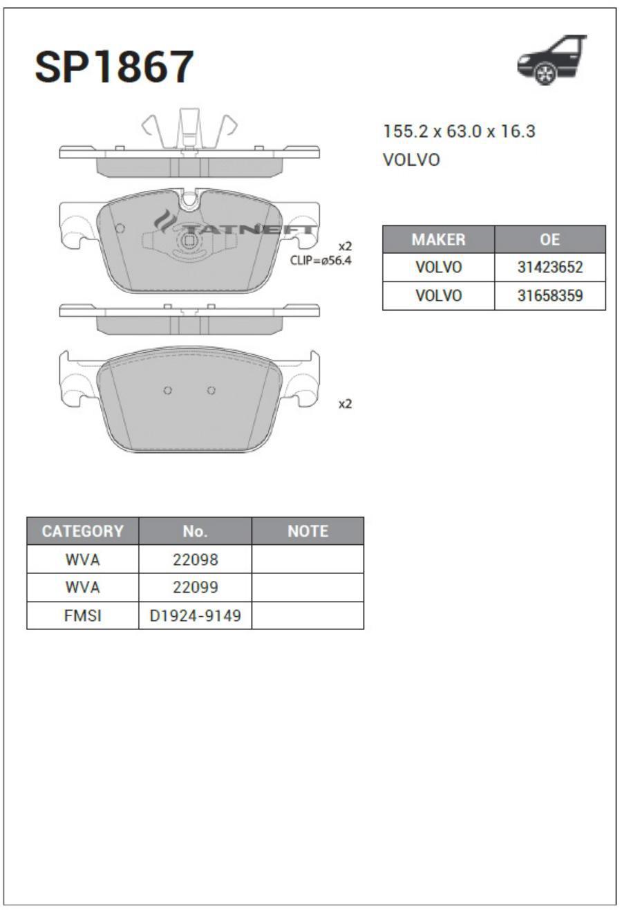 Колодки тормозные передние SP1867
