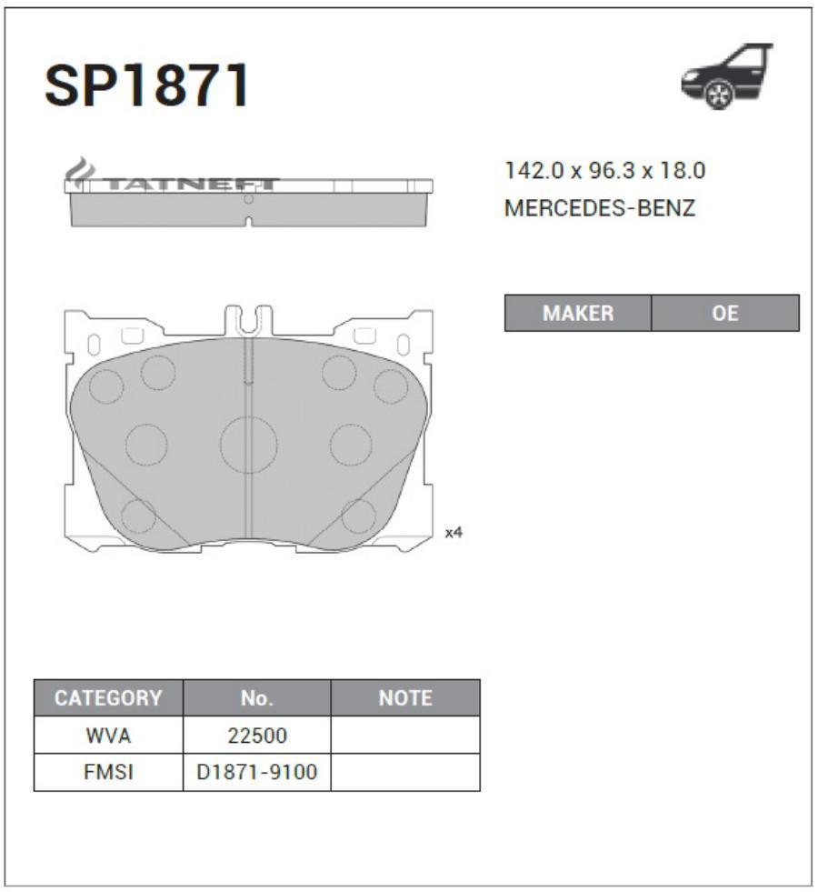 Колодки тормозные передние SP1871