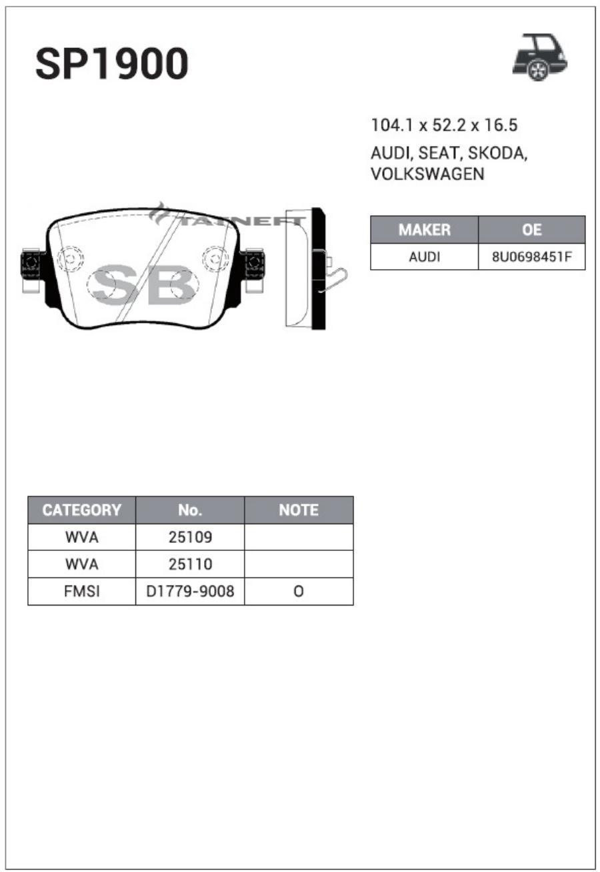 Колодки тормозные задние SP1900