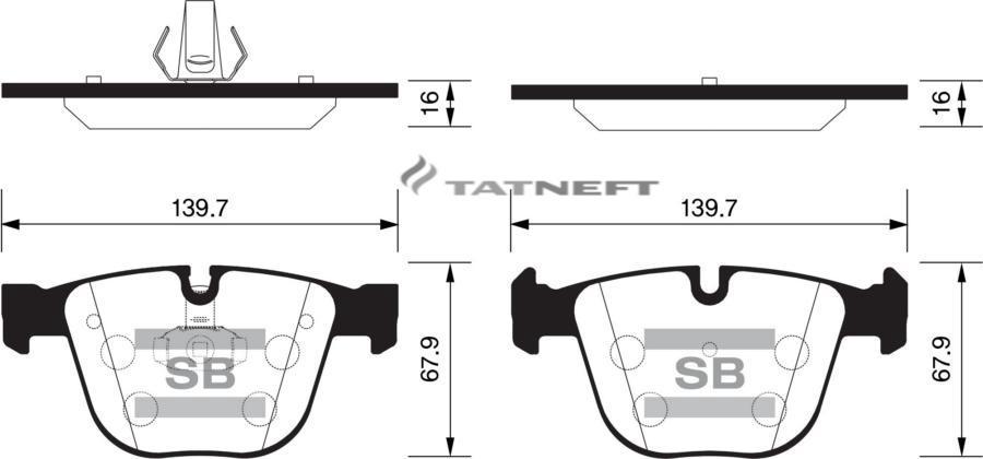 Колодки тормозные задние SP2164