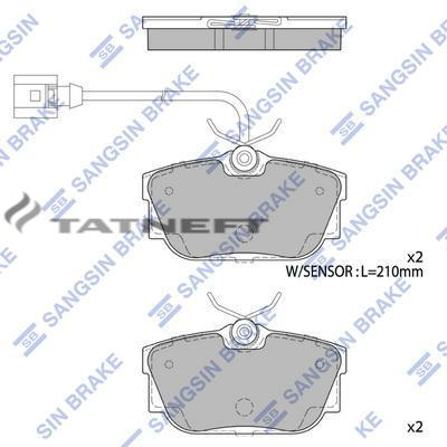 Колодки тормозные задние (2 датчика)