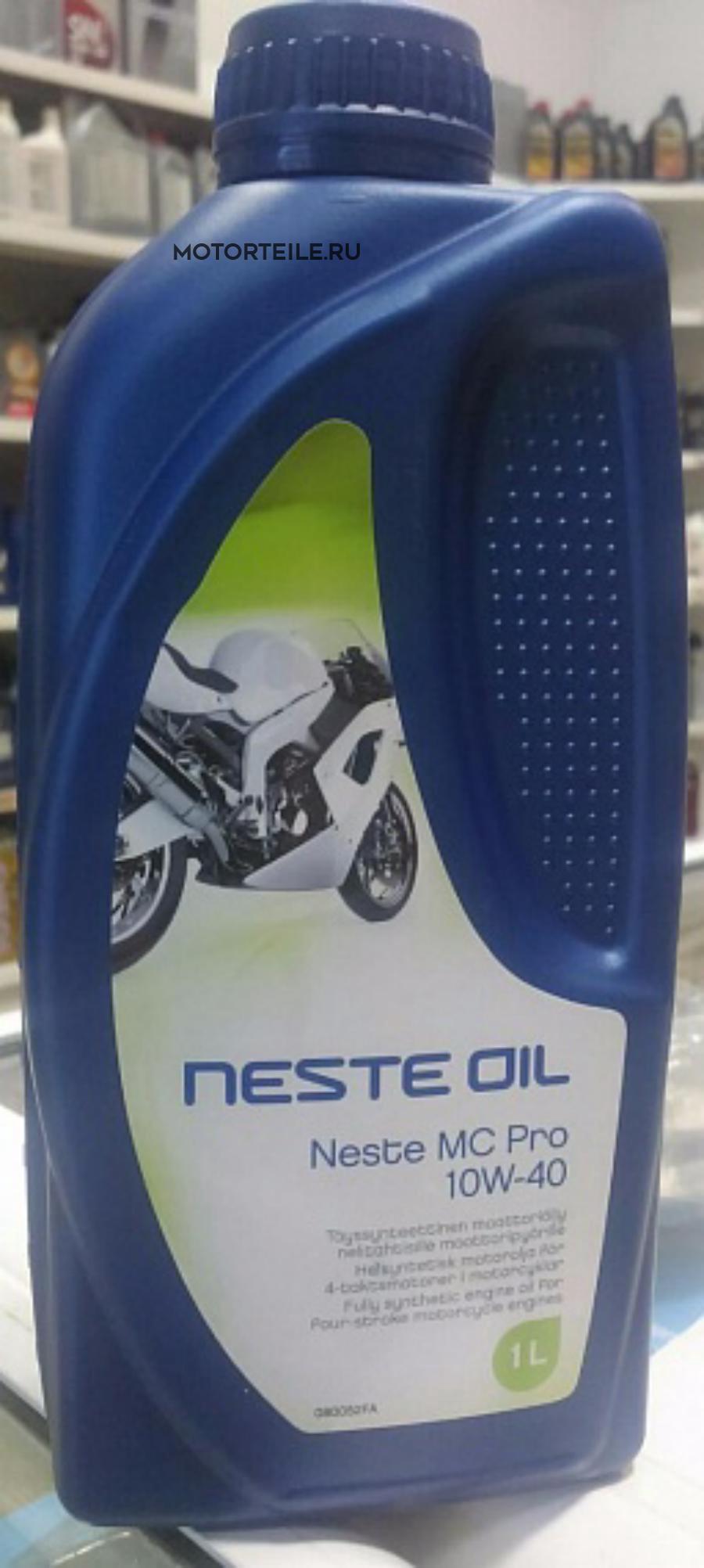 Масло Neste для 4-х тактных мотоциклов MC PRO 10W-40 1 литр полностью синтетическое