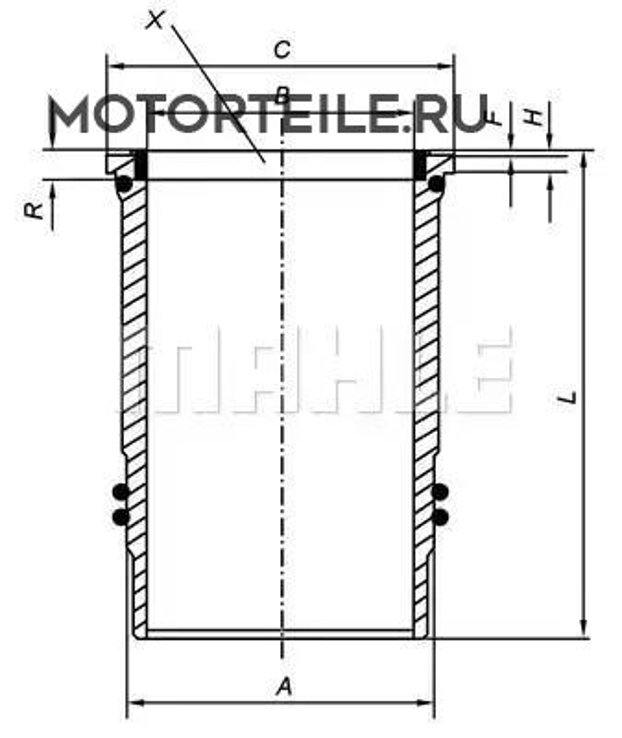 Гильза цилиндра MB Axor 1835-4143 OM457.937-OM457.990 d128mm STD (460 011 13 10)