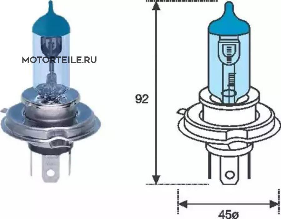 Лампа H4 BL 12V [Blue Light]