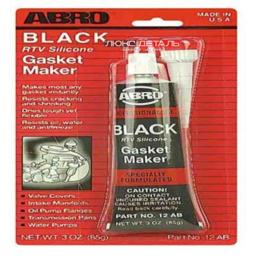 Герметик прокладка abro 12ab силик. черный 85г