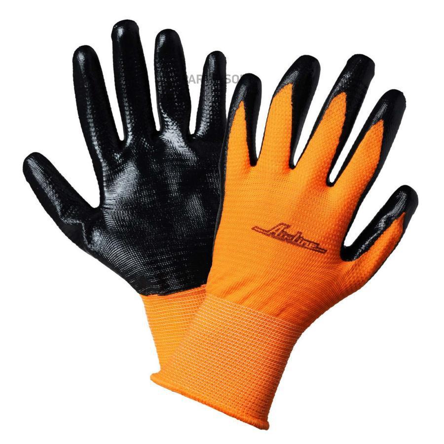 Перчатки полиэфирные с двухслойным нитриловым покрытием ладони (XL), оранж./черн.