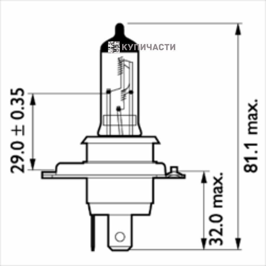 Лампа 24V H4 100/90W P43t-38