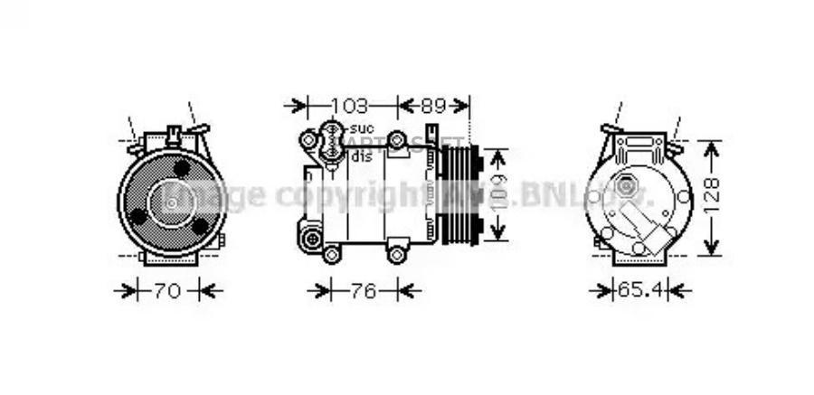 Компрессор кондиционера FORD C-MAX 07-10,FOCUS C-MAX 03-07,FOCUS II (DA_) 04-12,FOCUS II кабрио 06-10,FO MSG AC0071