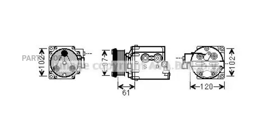 Компрессор кондиционера FORD TOURNEO CONNECT 02-,TRANSIT CONNECT (P65_, P70_, P80_) 02- DENSO DCP10101
